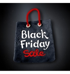 Black friday lettering and shopping bag banner vector