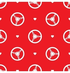 Car steering wheel seamless pattern with hearts vector