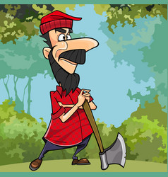 cartoon woodcutter in the forest is leaning vector image vector image