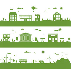 city with cartoon houses green eco panorama vector image