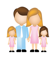 Color silhouette faceless with dad mom and two vector