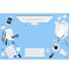 Copywriter work desktop top view letters glasses vector