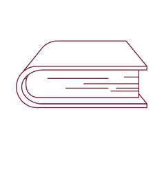 Dark red line contour of thick book vector