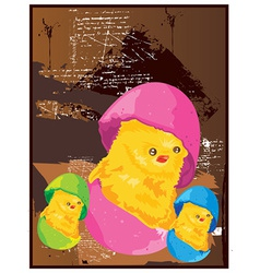 Easter cartoon chicken vector image vector image
