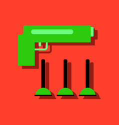 Flat icon design collection toy gun in sticker vector