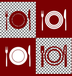 Fork knife and plate sign bordo and vector