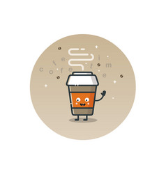 Funny coffee cup cartoon character vector
