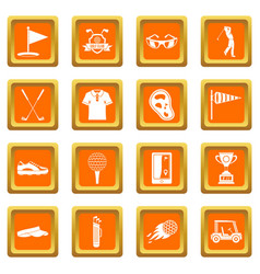 golf items icons set orange vector image vector image