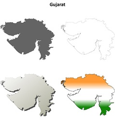 Gujarat blank detailed outline map set vector