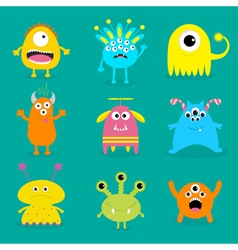 Monster big set Cute cartoon scary character Baby vector image