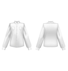 realistic detailed 3d template blank white shirts vector image