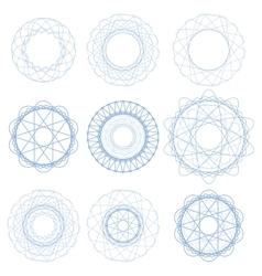 Set of blue circle ornaments vector