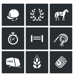 Set of equestrian sport icons jockey cap vector