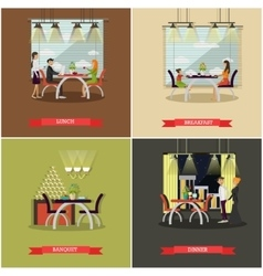 Set of posters with people in cafe and vector