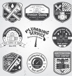 Set of retro vintage badges and labels Plumbing vector image