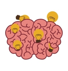 Silhouette brain human top view with light bulb vector