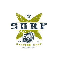 surfing shop emblem graphic design for t-shirt vector image vector image