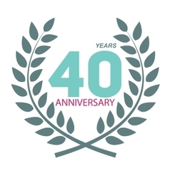 Template logo 40 anniversary in laurel wreath vector