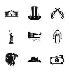 Usa icons set simple style vector