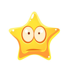 Worry and sad emotional face of yellow star vector