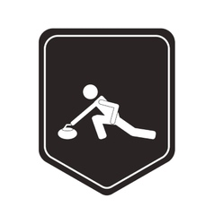 Curling pictogram icon shield emblem vector