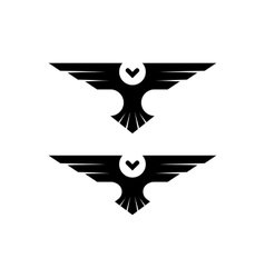 Owl logo silhouette raptor in flight with spread vector image