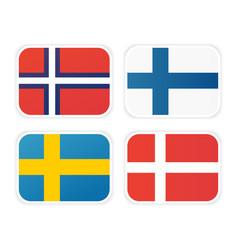Icons of scandinavian flags vector