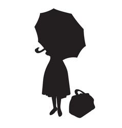 Mary woman under an umbrella with a bag vector