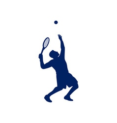 Tennis player serving silhouette vector