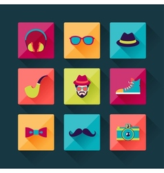 Set of hipster icons in flat design style vector