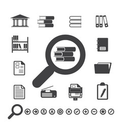 Documents icons and library icon vector