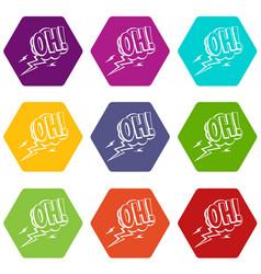 Oh speech bubble icon set color hexahedron vector