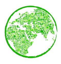 Green earth with ecological elements vector