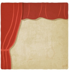 Red curtain old background vector