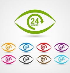 24 hours customer service icon in the form of eye vector image