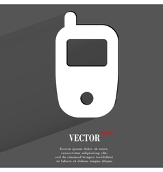 Mobile phone flat modern web button with long vector