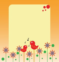 Birds and flowers note vector