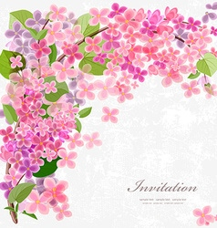 Floral invitation card with blossom lilac with vector