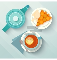 English breakfast with a cup of tea and appricot vector