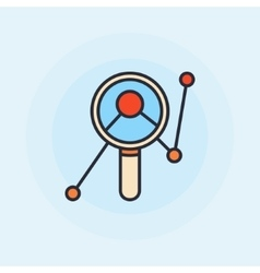 Magnifying glass with graph symbol vector