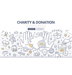 Charity Donation Doodle Concept vector image