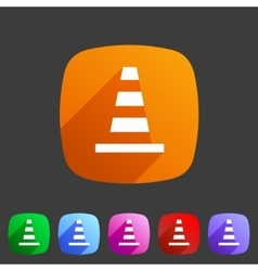 Traffic cone icon flat web sign symbol logo label vector