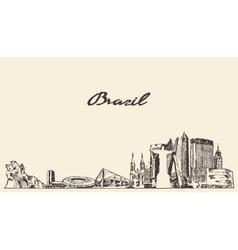 Brazil skyline drawn sketch vector image