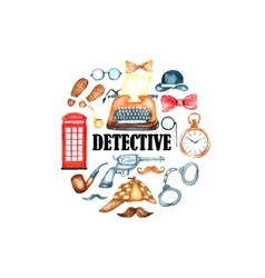 Watercolor retro detective accessories vector