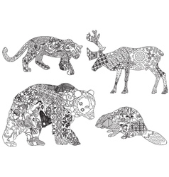 a set of drawings of animals in the ethnic vector image