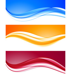 Abstract dynamic colorful wavy backgrounds set vector