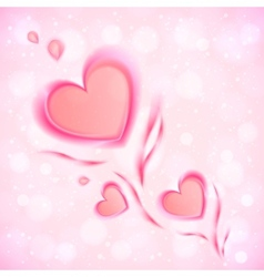 Abstract flowing hearts Valentines card vector image vector image