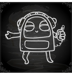 Alien Listening to Music Drawing on Chalk Board vector image
