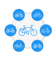 bikes line icons cycling bicycles motorcycle vector image vector image