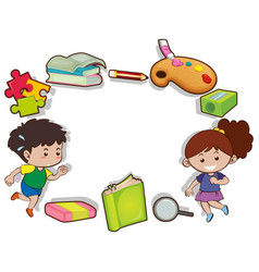 border design with kids and stationeries vector image vector image